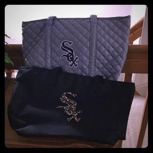 2 Chicago White Sox tote bags 1 grey 1 black
